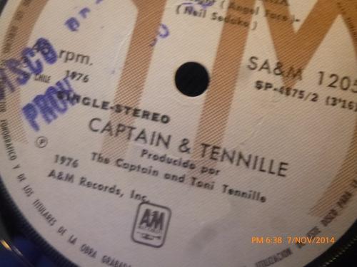 vinilo single de captain & tennille - sonrieme una vez ( s71