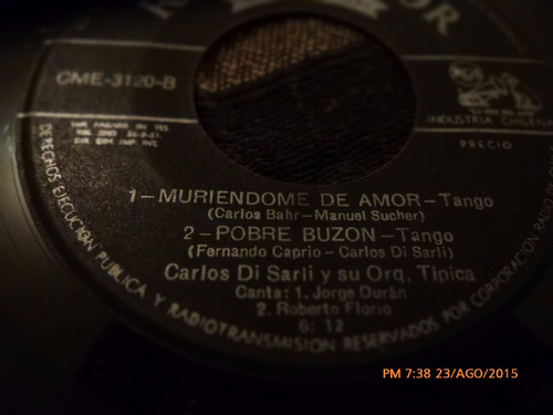 vinilo single de carlos di sarli  --pobre buzon ( p62