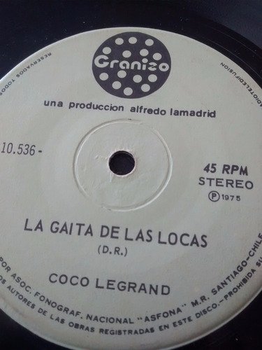 vinilo single de coco legrand - la gaita de las locas ( f87