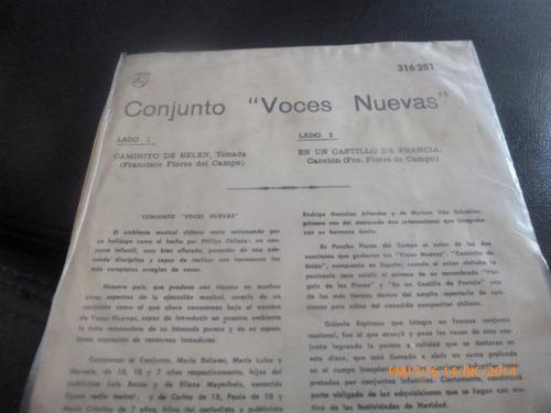 vinilo single de conjunto voces nuevas - caminito a bel( s62