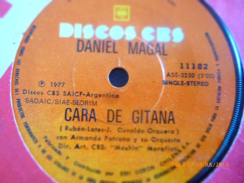 vinilo single de daniel magal --cara de gitana  ( r59