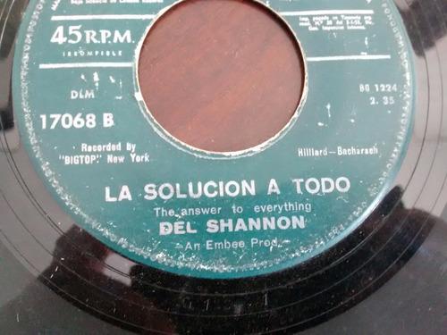 vinilo single de del shannon -  la solucion a todo( e70