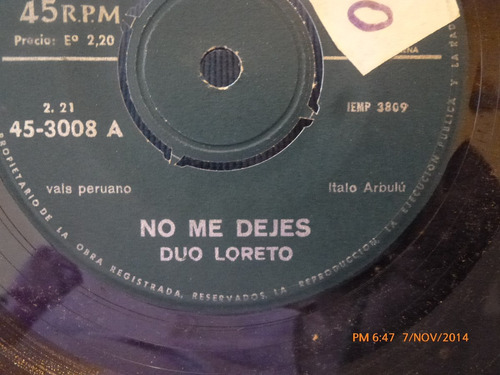 vinilo single de duo loreto -- lejania ( a114
