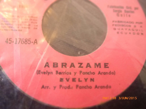 vinilo single  de evelyn  --abrazame  ( h56