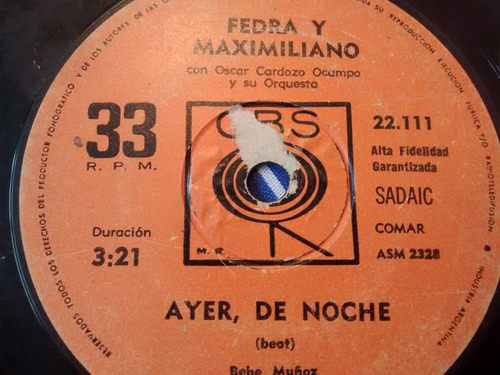 vinilo single de fedra y maximiliano -ayer de anoche ( p13