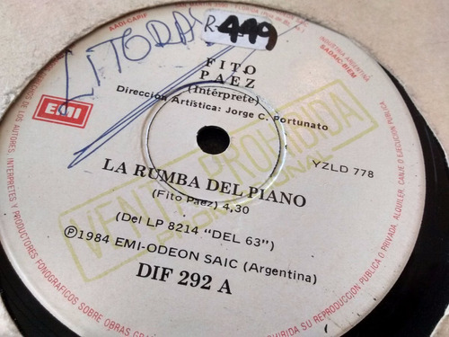 vinilo single de fito paez - la rumba del piano ( p125