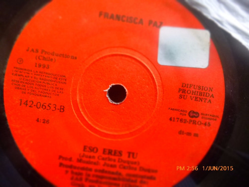 vinilo single de francisca paz --eso eres tu(  h100