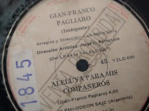 vinilo single de gian franco pagliaro - aleluya para ( t47