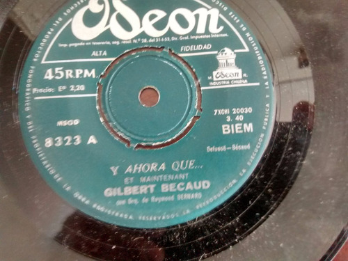 vinilo single de gilbert becaud -  -tu el musico  ( q82