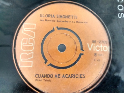 vinilo single de gloria simonetti -cuando me acaricies( e54