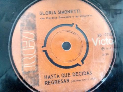 vinilo single de gloria simonetti -cuando me acaricies( e54