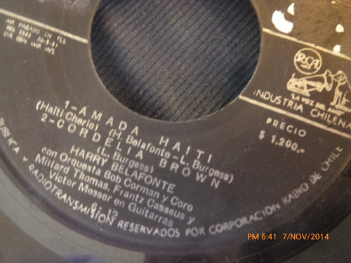 vinilo single de harry belafonte --amada haiti( s76