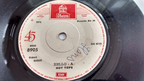 vinilo single de hot tops -- hello-a ( c49