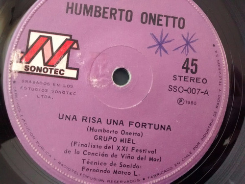vinilo single de humberto  onetto -niña( f136