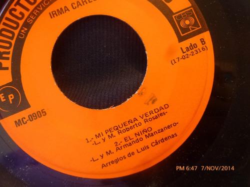 vinilo single de irma carlon -- mi pequeña navidad ( a115