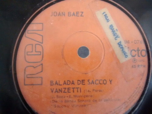 vinilo single de joan baez -  a tu salud -  ( e37