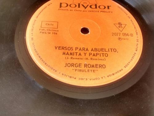 vinilo single de  jorge romero firulete - versol  ( i113