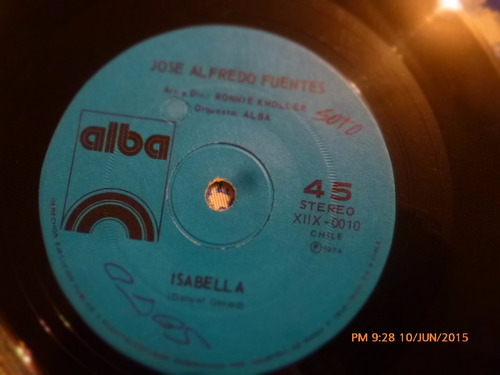 vinilo single de jose alfredo fuentes -- isabella ( q16