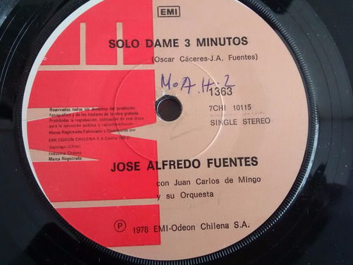 vinilo  single de jose alfredo fuentes - largo camin (  i107