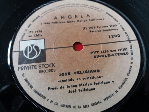 vinilo single de jose feliciano angela (v122