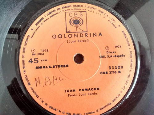 vinilo  single de juan camacho - jurame ( c40