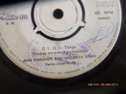 vinilo single de juan d'arienzo  --gigi  ( n87