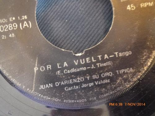 vinilo single de juan d'arienzo  --por la vuelta( s61