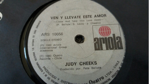 vinilo single de judy cheeks cen y llévate  (o-24