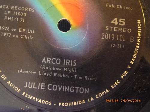 vinilo single de julie covington -- arco iris( a87