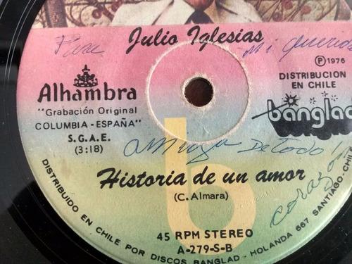 vinilo  single de julio iglesias - historia de amor ( q136