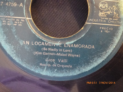 vinilo single de june valli  --tan locamente enamo(  a99