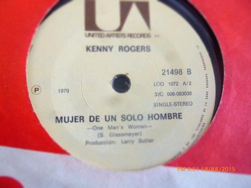 vinilo single de kenny  rogers - mujer de un solo hom( r51