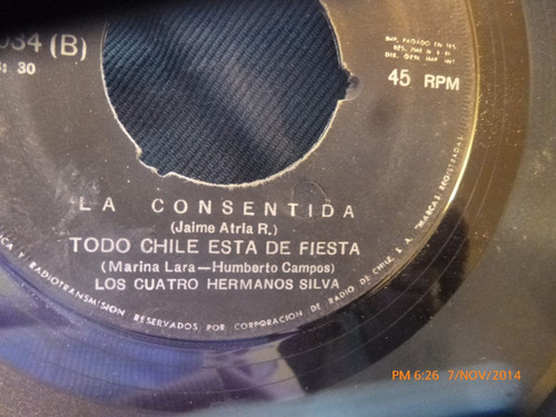 vinilo single de los 4 hermanos silva --- la consentida(a362