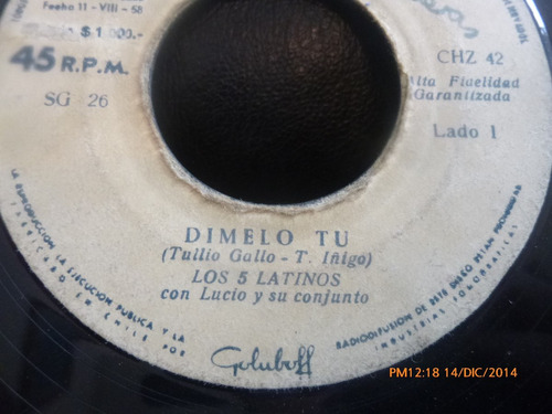 vinilo single de los 5 latinos --buona sera ( a144