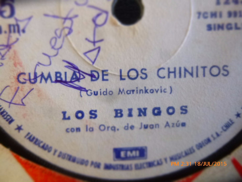 vinilo single de los bingos --chapulin colorado  ( r106