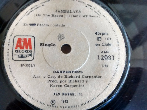 vinilo single de  los carpenters -  jambalaya ( e77