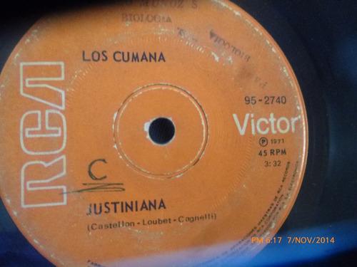 vinilo single de los cumana -- justiniana ( v16 - k145