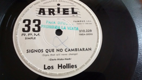 vinilo single de los hollies signos que no cambiaran ( j97