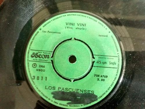 vinilo single de los pascuenses - vini vini ( p62