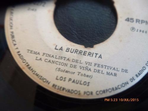 vinilo single de los paulos -- la burrerita  ( r99