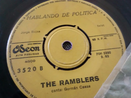 vinilo single de los ramblers no toques esa cancion ( t28