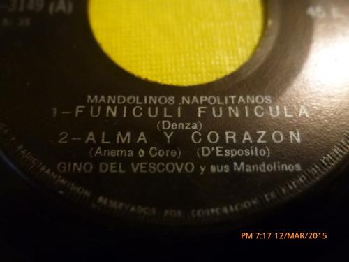 vinilo single - de mandolinos napolitanos -funiculi( i50