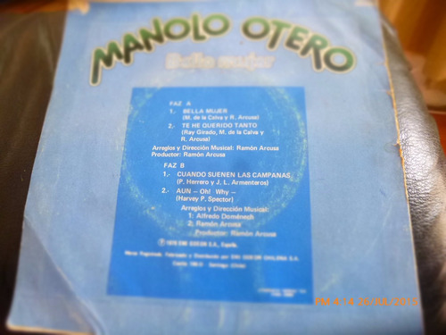 vinilo single de  manolo otero  --bella mujer ( n44