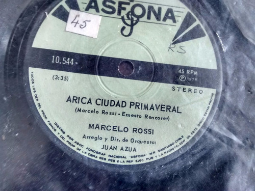 vinilo single de marcelo rossi  --se paso el calor ( c61