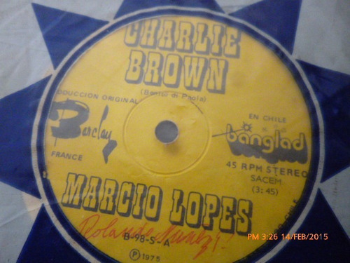 vinilo single de marcio lopes -- charlie brown ( i138