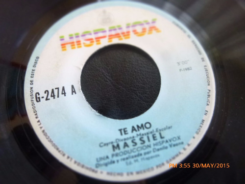 vinilo single de massiel -- te amo   ( h140