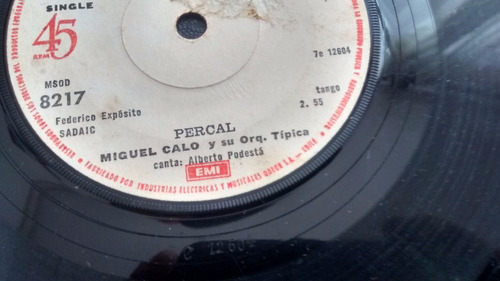 vinilo single de miguel calo  - percal    ( u79