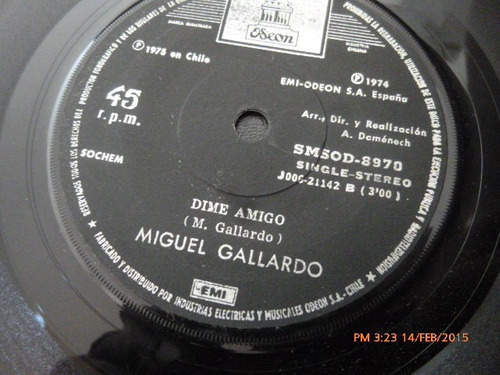 vinilo single de miguel gallardo --quedate ( i5