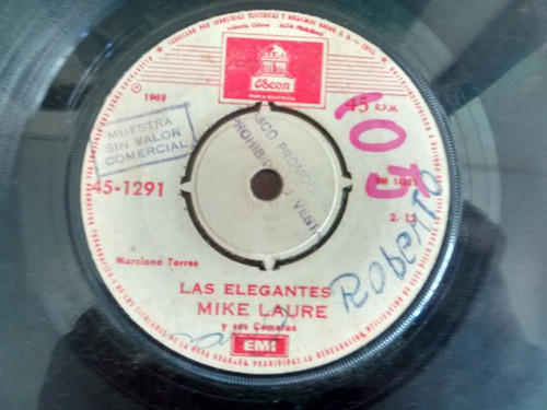 vinilo single de mike laure - las elegantes ( p115