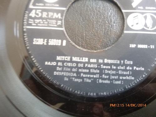 vinilo single de mitch miller - bajo el cielo de paris( s137
